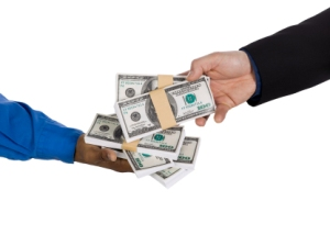 two people making money deal