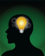vector image of a idea bulb in brain