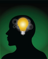 vector image of a idea bulb in brain