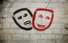 25923449 Comedy And Tragedy Theatrical Masks Concept