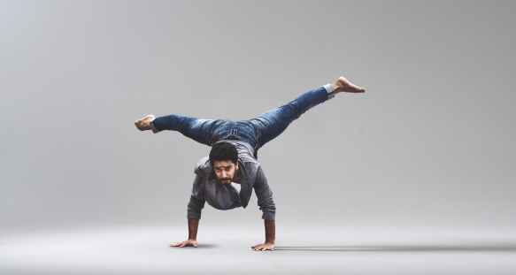 man performing handstand